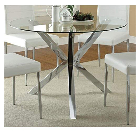 Coaster 120760-CO Vance Contemporary Glass Top Round Dining Table