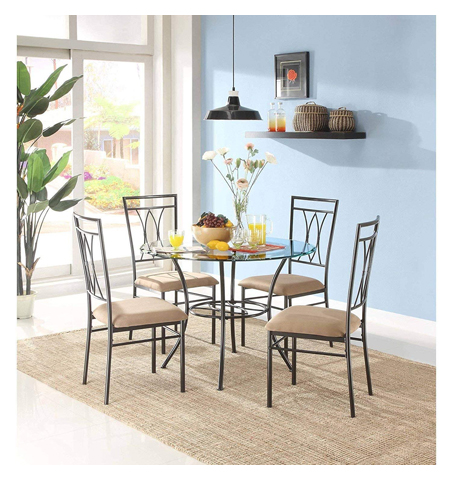 MSS 5-Piece Glass and Metal Dining Set, Includes table and 4 chairs