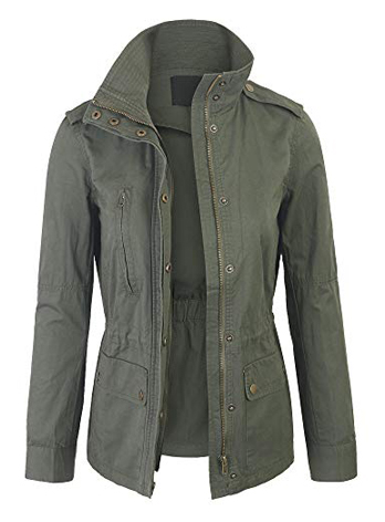 KOGMO Womens Zip Up Military Anorak Safari Jacket Coat