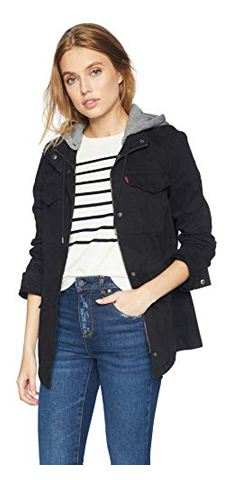 Levi's Women's Cotton Military Jacket with Removable Fleece Hood