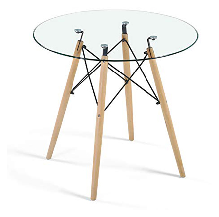Dining Table Modern Round Glass Clear Table for Kitchen Dining Room
