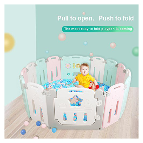 i-BeBe Foldable Baby Playpen 14 Panel Kids Activity Center Toddler Play Yard